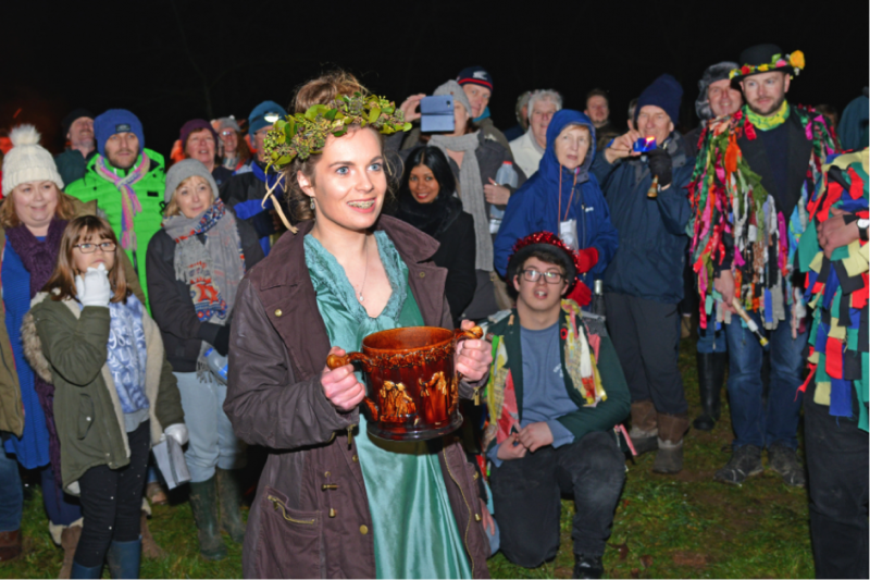 Revellers enjoying the Wassail